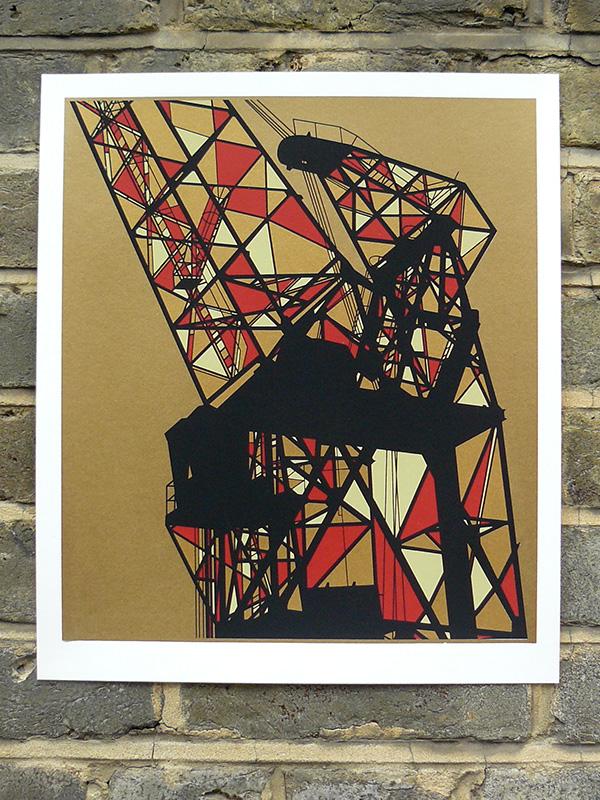 Dockyard crane 1 screenprint