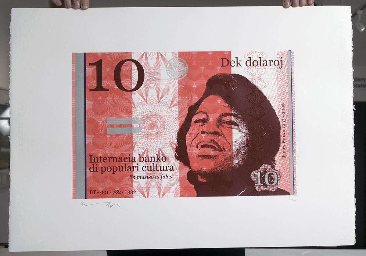 Ten dollar James silkscreen print