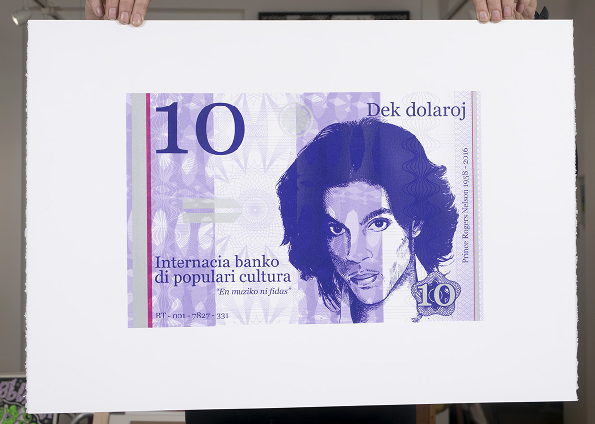 Ten dollar Prince silkscreen print