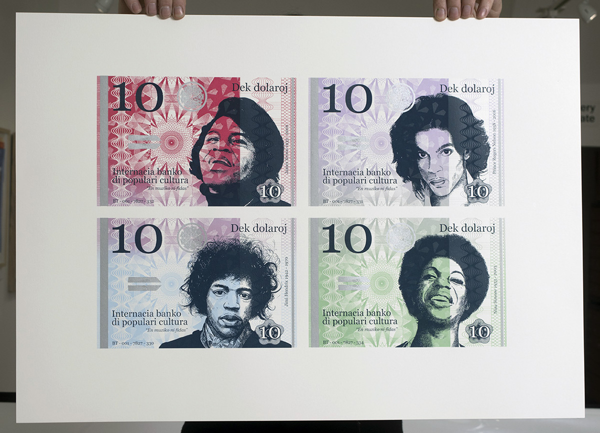 Set of four banknotes from the International Bank of Popular Culture, featuring Nina Simone, James Brown, Prince and Jimi Hendrix.